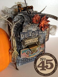 This fabulous mini is by Denise Johnson and is a Steampunk Spells October Bucket List mini album! So much fun! Look for the tutorial #graphic45 #scorpal #tutorials