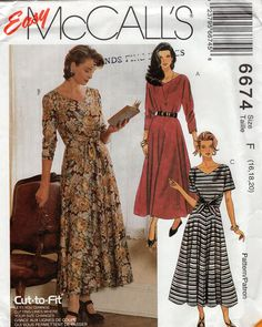 McCall's 6674 Sewing Pattern Free Us Ship Retro 1990s Dress Front Tie Tucks Uncut Size 16 18 20 Bust 38 40 42 plus size 1993 by LanetzLiving on Etsy