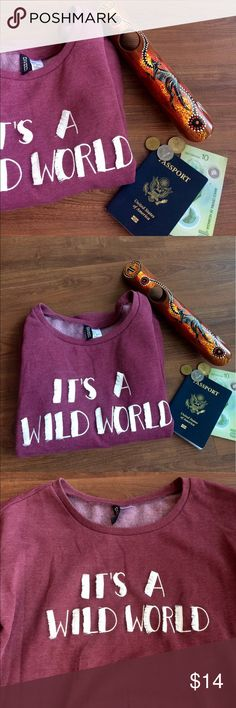 H&M Maroon It's A Wild World Fleece Sweatshirt H&M Maroon It's A Wild World Fleece Sweatshirt. Perfect layering top with an added bit of flair. Worn once! In perfect condition! Please make all offers through offer button! NO TRADES!! H&M Tops Sweatshirts & Hoodies