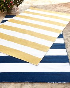 "Horchow Rugby Stripe Indoor/Outdoor Rug, 3'5"" x 5'5"""