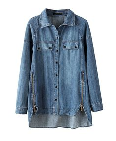 Blue High Low Hem Zipper Thicken Denim Coat