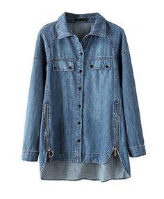 Blue High Low Hem Zipper Thicken Denim Coat