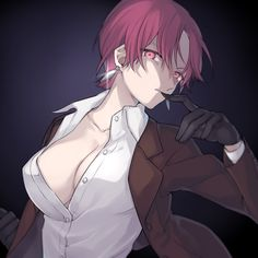bazett fraga mcremitz black gloves breasts citron 82 cleavage dress shirt earrings fate/hollow ataraxia fate (series) finger in mouth formal gloves jewelry large breasts looking at viewer no bra purple eyes purple hair shirt short hair solo suit unbu Character Concept, Character Design, Type Moon Anime, Comic Pictures, Kawaii, Ecchi, Art Station, Anime Poses, Fate Stay Night
