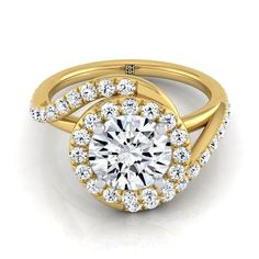 Diamond Pave Wave Design Engagement Ring In 14k Yellow Gold (1/2 Ct.tw.)