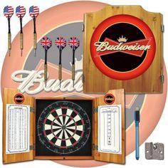 Budweiser® Dart Board Cabinet Includes Bristle Board And Darts