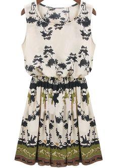 Green Sleeveless Vintage Floral Pleated Dress - Sheinside.com