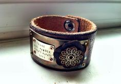 Those Who Wander...Leather Cuff by ssdjewelry on Etsy, $84.00