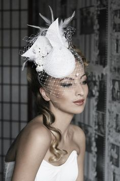 White hat with roses, feathers and veil | Wedding Hats by Anna Mikhaylova, via Behance