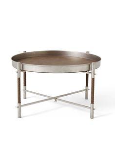 3/ LEATHER-AND-STEEL TRAY TABLE BY BOTTEGA VENETA