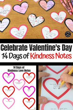Valentine's Day is the perfect time to practice our kindness.  Encourage kindness with this classroom activity. These Kindness Notes for Kids are perfect for Valentine's Day to spread some love in your home. Help build a sibling connection by having kids write kindness notes to their siblings every day leading up to Valentine's Day. #valentinesday #vday #kindness #kindnessactivities #coffeeandcarpool