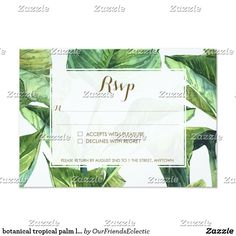 botanical tropical palm leaves wedding RSVP