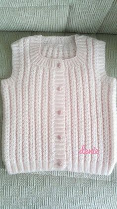 """diy_crafts-Pembe yelek """"Yellow baby vest,knit baby girl vest, winter trends by likeknitting on Etsy"""" Baby Knitting Patterns, Knitting Stitches, Baby Patterns, Knit Vest Pattern, Crochet Headband Pattern, Short Sleeve Cardigan, Baby Cardigan, Baby Girl Vest, Baby Boy Quotes"""