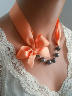 Peach necklace black and peach ribbon pearl necklace by casamoda