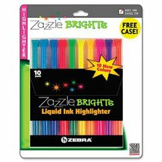 Zebra 71111 - Zazzle Brights Hghlghtr, Chisel Tip, Assorted Colors, 10/Set-ZEB71111 by Zebra. $9.99. Multipurpose neon highlighter with clear barrel and visible ink supply. Water-based pigment ink writes on carbonless and fax paper. Pocket clip. Color(s): Assorted; Tip Type: Chisel; Assortment: Blue; Fluorescent Pink; Fluorescent Yellow; Green; Light Blue; Light Green; Light Orange; Orange; Red; Violet; Grip Type: N/A.