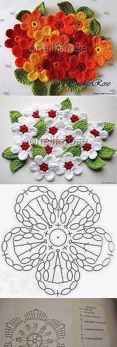 Ideas for crochet jewelry tutorial free pattern ganchillo Crochet Puff Flower, Crochet Flower Tutorial, Crochet Flower Patterns, Cute Crochet, Crochet Motif, Crochet Crafts, Crochet Doilies, Easy Crochet, Crochet Flowers