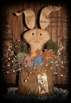 PatternMart.com ::. PatternMart: Primitive Folk Art Easter Bunny with Eggs & Carrots E-Pattern