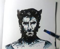 Hugh Jackman. Dibujo rápido con plumilla caligráfica. #wolverine #xmen #ink #drawing #art #sketch #lobezno #speedpainting #hughjackmank