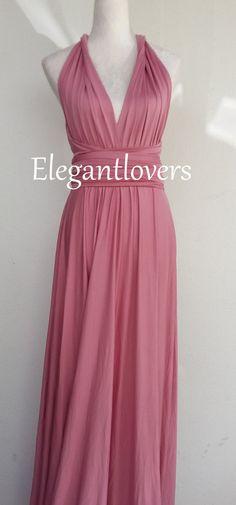 Dusty Pink Bridesmaid Dress Wedding Infinity Wrap Convertible