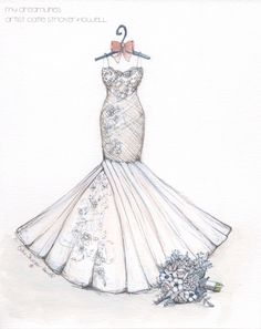 a21a0da3ea Wedding dress sketch with bouquet makes a perfect wedding or anniversary  gift. Sketch by Catie Stricker-Howell