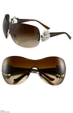 DG Eyewear Die Cut Bubble Jewel Temple Shield Rimless Warp Fashion Sunglasses