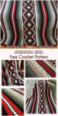 ~~Blanket I want to make for P~~ designer Pippin Poppycock. Representing Arizona, it uses colors typical of traditional Native American blankets. The pattern is composed of seven colors, five gradient and one each of a shadow Crochet Afgans, Crochet Quilt, Afghan Crochet Patterns, Diy Crochet, Crochet Crafts, Crochet Projects, Crochet Blankets, Crochet Indian Blanket Free Pattern, Bobble Crochet