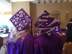 Our cosmetology class of 2013 grad caps! Rhinestone Wild animal prints. Leopard and zebra with shears!!