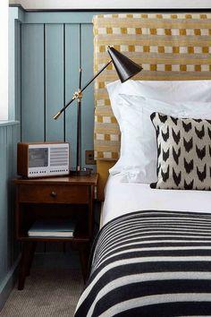 The Soho House look, bedroom decor ideas cushion and throw combo bohemian, eclectic Bedroom Colors, Home Decor Bedroom, Modern Bedroom, Design Bedroom, Bedroom Furniture, Casual Bedroom, Furniture Design, Eclectic Bedrooms, Bedroom Interiors
