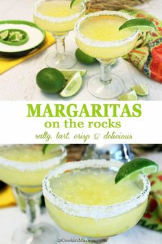 Salty, tart, crisp & delicious, these margaritas on the rocks will have you thinking Margaritaville. Perfect served over crushed ice or frozen for a hot summer day. Refreshing Cocktails, Summer Cocktails, Cocktail Drinks, Fun Drinks, Cocktail Recipes, Beverages, Holiday Drinks, Pina Colada, Best Margarita Recipe