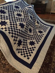 Quilt Triple Irish Chain with Stars Blue and by BarnRedQuiltworks