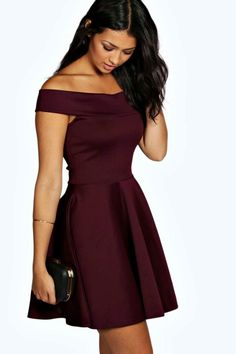 89b01a7d4e7c1 Tamsin off the Shoulder Skater Dress (berry Color) Glam evening dresses  feature sexy details and flattering shapes Boohoo Dresses Mini