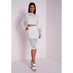 Missguided Mesh Panel Knitted Skirt ($37) ❤ liked on Polyvore featuring skirts, white, white cut out skirt, missguided skirt, rayon skirt, cut out skirt and mesh panel skirt