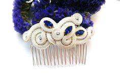 Soutache hair comb bridal Soutache jewelry Bridal white blue hair comb Wedding…