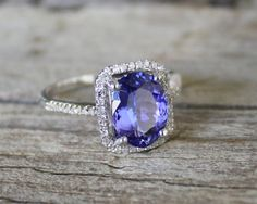 2.24 Cts. Tanzanite Diamond Engagement Halo Ring in 14K Solid Gold