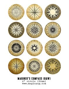 Mariner's Rose Compass black & white digital collage by magicpug, $4.00