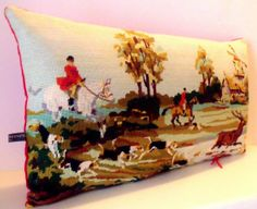 Unique French Silk Needlepoint Tapestry Country by Retrocollects, £40.00