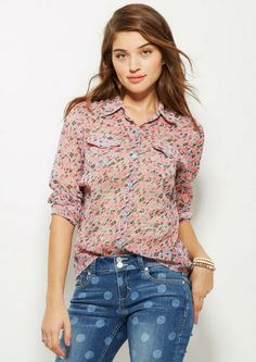 Chiffon Ditsy Floral Button-Down Shirt - Tops - Clothing - dELiA*s