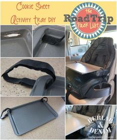 Cookie Sheet Activity Tray, how to make it. Best idea ever! Along with tons of great ideas for keeping kids of all ages entertained on road trips.