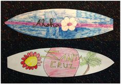 Surfboard Art by Kidsend of school year easy art set up project lesson for childrens art