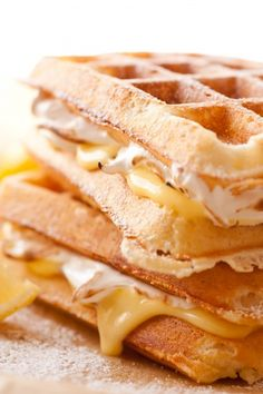 Lemon Meringue Pie Stuffed Waffles....buttermilk waffles with lemon cream and marshmallow fluff