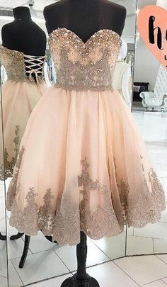 Simple Prom Dresses, homecoming dress lace homecoming dresses champagne homecoming gowns ball gown homecoming dresses sweet 16 dress for teens LBridal Dresses Short, Sweet 16 Dresses, Dresses For Teens, Dance Dresses, Pretty Dresses, Peach Homecoming Dresses, Bridesmaid Dresses, Prom Dresses, Formal Dresses