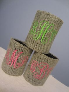Personalized Monogrammed Burlap Drink by ThreadTrekker on Etsy! Love these!