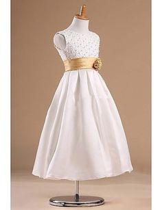 Vestido de niña de las flores - Corte Princesa Hasta la Tibia - Satén/Tul Sin Mangas – USD $ 59.99