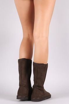 These cozy mid-calf boots feature a round toe, faux shearling shaft lining, flat heel, and cushioned insole. Pull-on construction. Material: Vegan Suede (man-made) Sole: Treaded EVA Flat Boots, Mid Calf Boots, Toe, Construction, Flats, Vegan, Heels, Fashion, Building