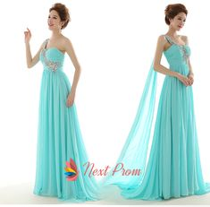 NextProm.com Offers High Quality NextProm Tiffany Blue One Shoulder Long Chiffon Maxi Prom Dress ,Priced At Only USD USD $125.00 (Free Shipping)