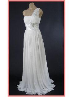 Elegant White Chiffon One Shoulder Goddess Evening Gown/Wedding Dress  $134.99