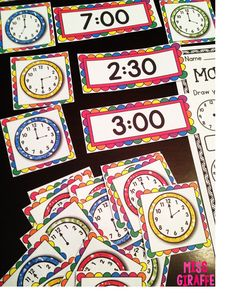 Telling Time centers and worksheets and activities -- soo much stuff on this blog post for teaching time to kids