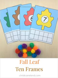 Fall leaf ten frames for math and fine motor skills.  The set comes with numbers 1-20.
