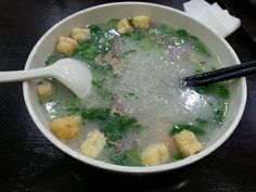 duck blood pudding and vermicelli soup in Nanjing!!!!