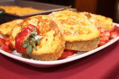 Sunshine French Toast (appropriate for CKD, Dialysis, Diabetes): french bread, Egg Beaters, pineapple juice, vanilla extract, strawberries, powdered sugar