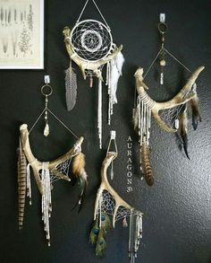 Natural wall hangings - antlers, feathers, crystals etc